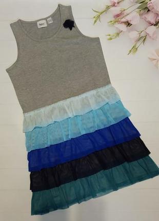Очень красивое платье с рюшами натуральное хлопковое плаття bonprix bpc collection
