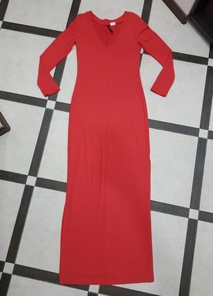 Длинное коралловое макси платье в пол rainbow