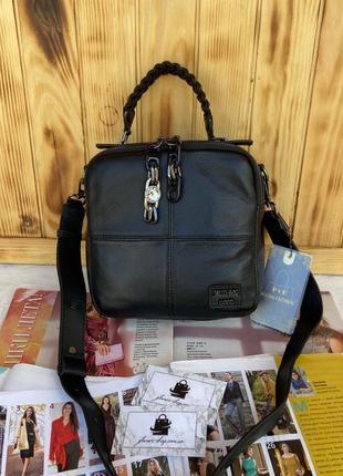 Женская стильная кожаная сумка через плечо polina & eiterou жіноча шкіряна чорна