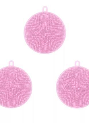 Набор 3 штуки - силиконовая губка щётка для мытья посуды