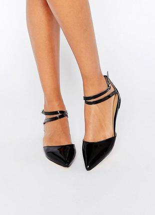 Лаковые туфли балетки с острым носком асос asos london rebel