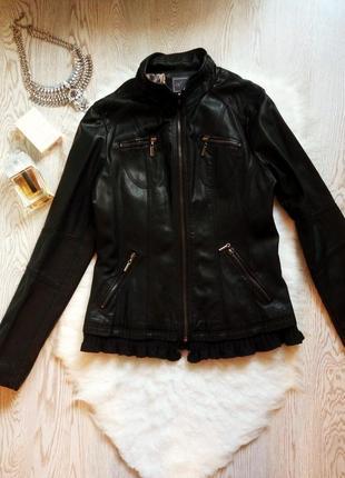 Черная куртка кожанка косуха кожзам с вязанным ажурным низом вязаным эко кожа