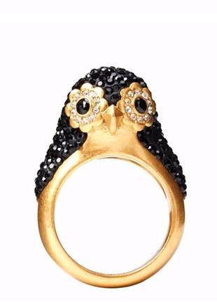Классное кольцо с пингвином kate spade (покрытие 12к)