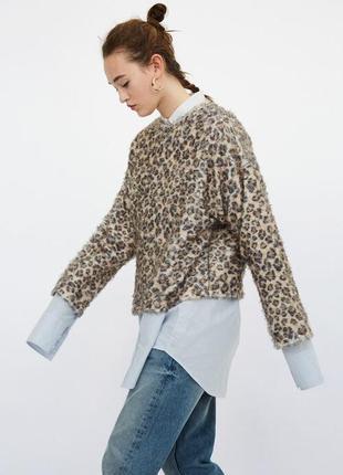 Zara trafaluk animal print пушистая толстовка свитшот oversize animal
