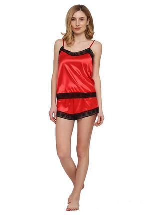 Комплект шелковый майка и шорты, красный