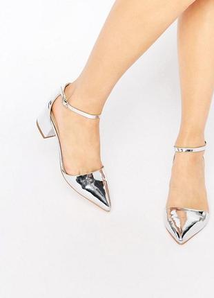 Серебристые туфли босоножки с острым носом асос asos truffle collection