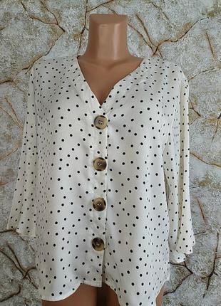 Блузка в горох рукав волан new look