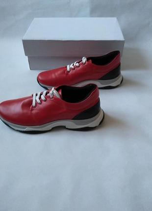 Кожаные красные женские  кроссовки 41 р-ра-27 см