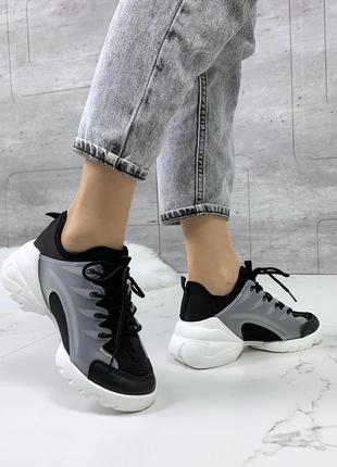 Спортивные черные текстильные кроссовки с силиконовыми вставками