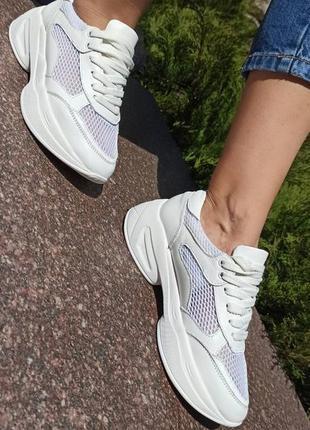 Кожаные летние дышащие белые кроссовки