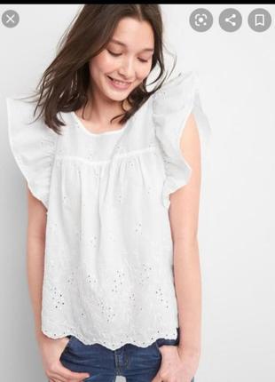 Белый топ блуза блузка рубашка прошва от gap