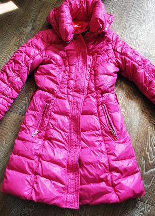 Пуховик snowimage длиный розовый яркий s 42