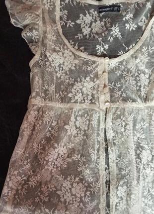 Кремовая прозрачная блуза, сетчатая, кружево, цветочный узор, айвари