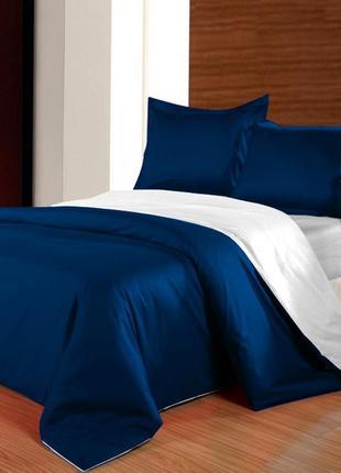Постельное белье двухстороннее сатин премиум синий + белый