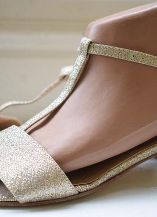 Кожаные  итальянские  золотистые босоножки сандали сандалии р.39 25,5 см