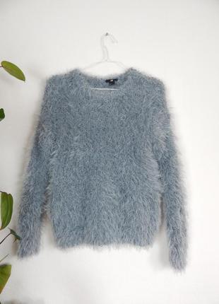 Мягкий пушистый свитер травка обьемный серо - голубой