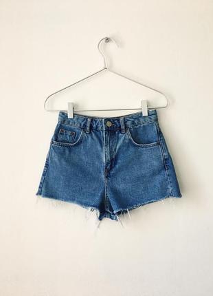 Шорты topshop mom синие джинсовые шорты с высокой талией
