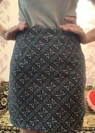 Юбка, юбка с узором, короткая юбка с высокой посадкой