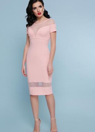 Оригинальное персиковое платье
