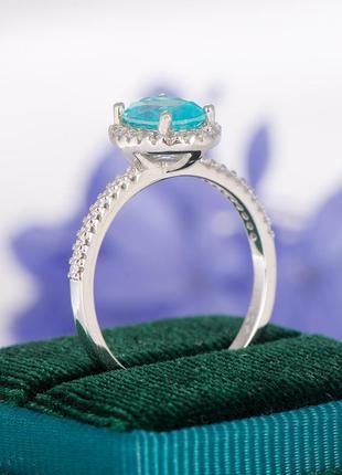 Турмалин параиба удивительный камень необычного цвета серебряное колечко