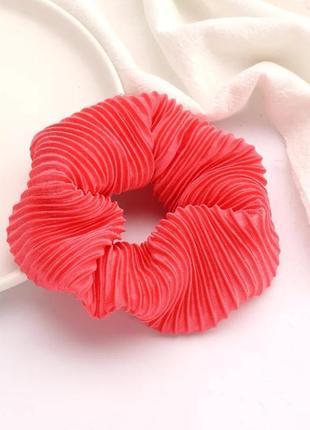 Резинка для волос красная лососевая заколка