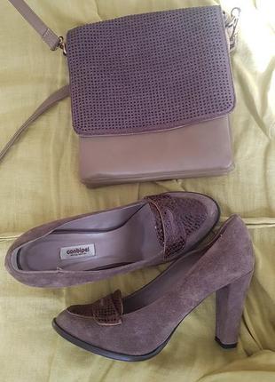 Замшевые туфли цвета мокко размер 38.