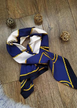 Платок косынка шарф  цепи синий атлас шелк