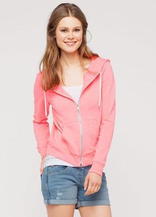 Женская толстовка на молнии цвета розовый неон c&a cunda