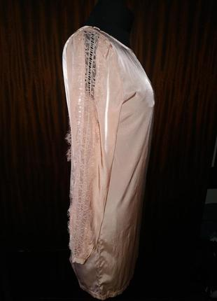 Платье- шифт, прямое, туника, лёгкое, пудровое, пудра, кружево, гипюр