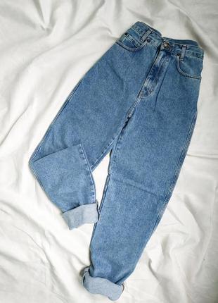 Винтажные голубые плотные мом джинсы на высокой посадке starline1 фото