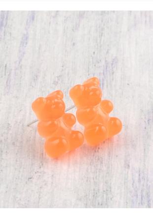 Оригинальные милые серьги желейные мишки оранжевые