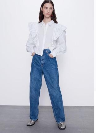 Хлопковая блуза с воланами из прошвы zara