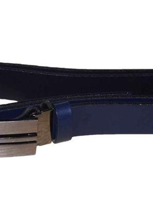 Ремень кожаный tom&rose 110 синий / черний кожа польша