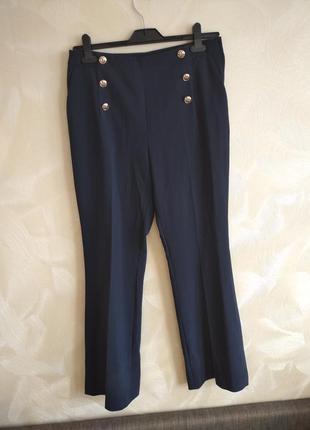 Стильные темно синие штаны, брюки высокая посадка h&m