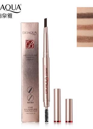 Двухсторонний водоустойчивый карандаш для бровей со щеточкой bioaqua b0121 фото