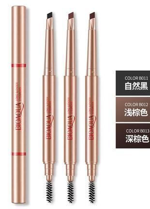 Двухсторонний водоустойчивый карандаш для бровей со щеточкой bioaqua b0123 фото