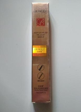 Двухсторонний водоустойчивый карандаш для бровей со щеточкой bioaqua b0126 фото