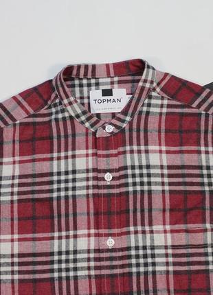 Четкая клетчатая рубашка без воротника от topman