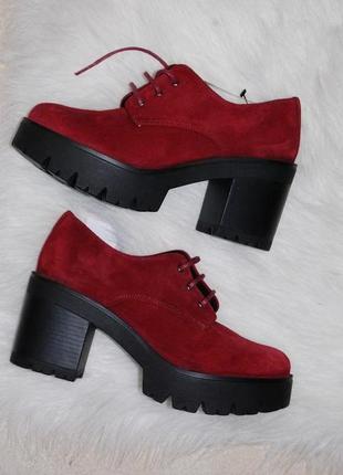 Туфли замш кожа бордовые марсала 37 р-р 23.5 см