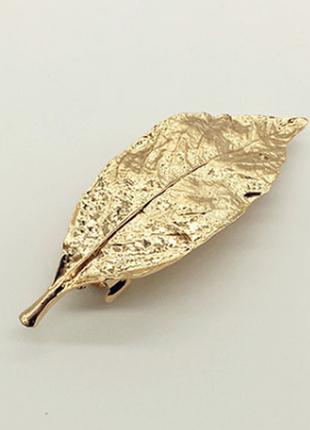Заколка-автомат для волос листочек золотой