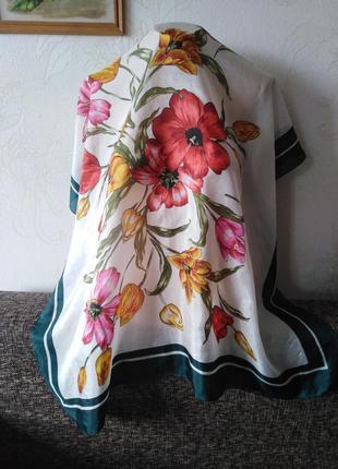 Натуральный нежный летящий шелк, платок *букет 💐 *, 87*82