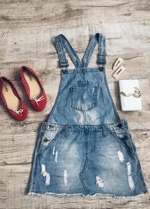 Джинсовый комбинезон с юбкой стильный модный