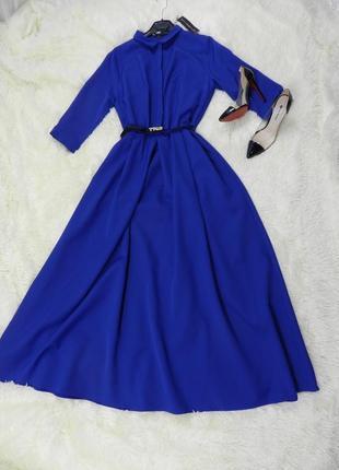 Красивое пышное платье в пол с кармашками