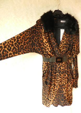 ✅ шикарное платье леопар с меховым воротником