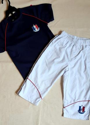 "Комплект спортивный синяя футболка и белые бриджи ""bklwear"" франция на 8 лет"