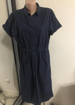 Фирменное платье сos с карманами на пуговицах разм.l котон