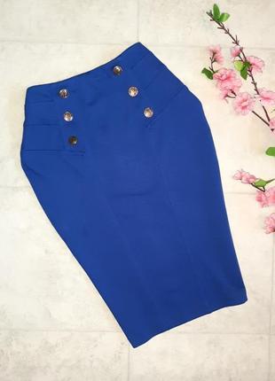 1+1=3 стильная синяя юбка - карнадаш миди jane norman с завышенной талией, размер 44 - 46