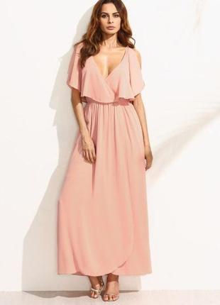 Длинное шифоновое платье boohoo/платье в пол с рюшами