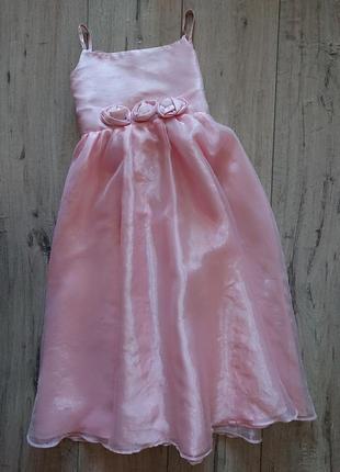 Нарядное розовое платье tu 8 лет 128 см