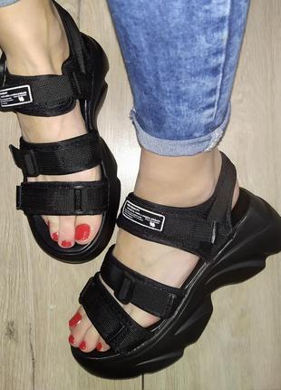 Босоножки 🌿  текстиль липучки платформа  танкетка сандали босоніжки